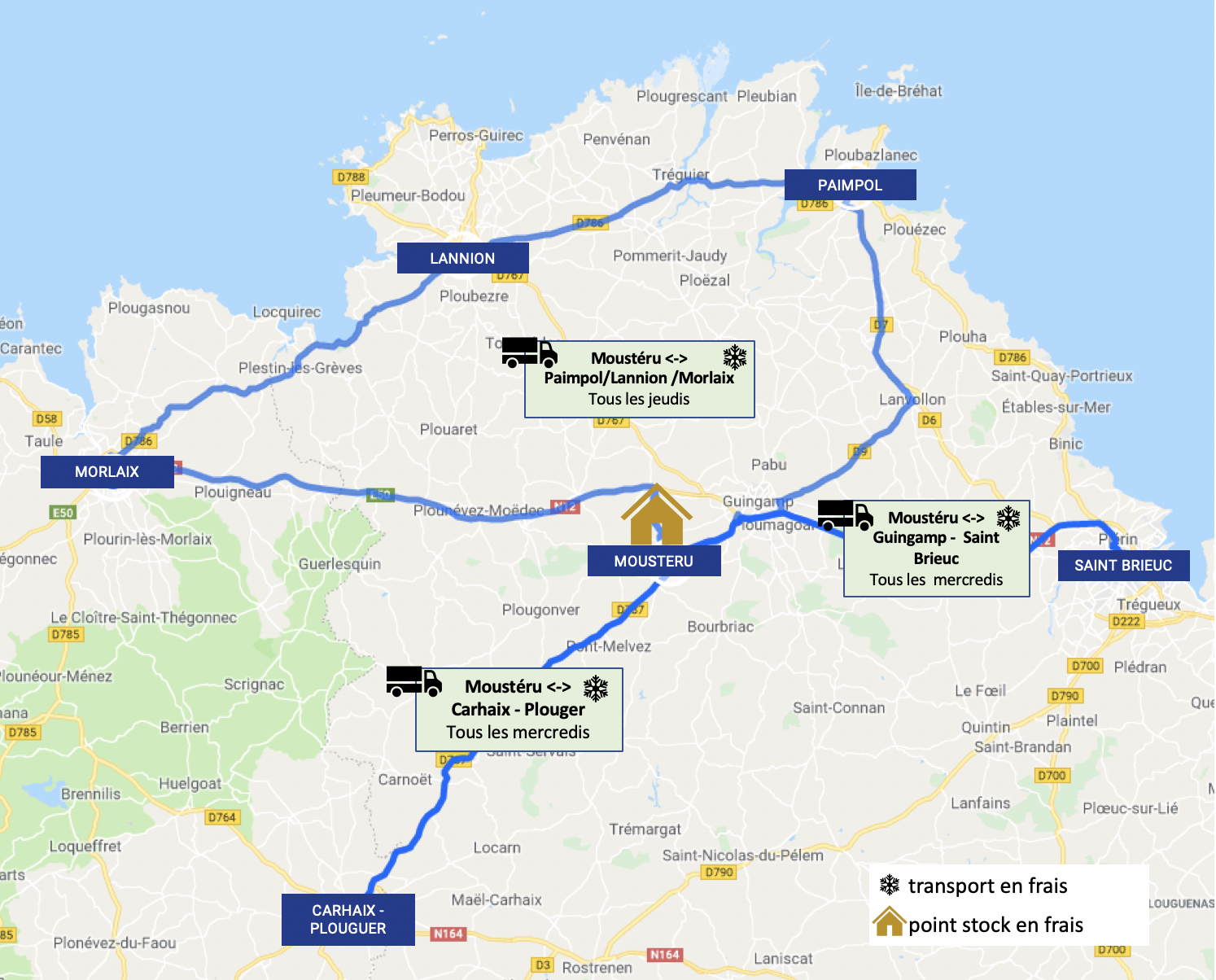 Carte routes Cotes dArmor